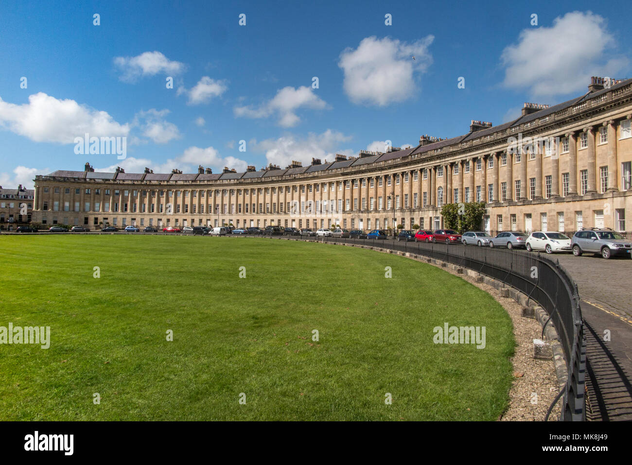 Royal Crescent in the City of Bath on a day in Springtime - Stock Image