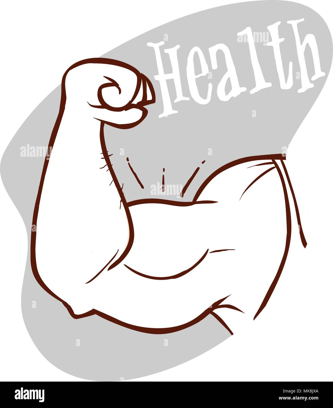 Muscle arms, strong bicep vector illustration - Stock Image