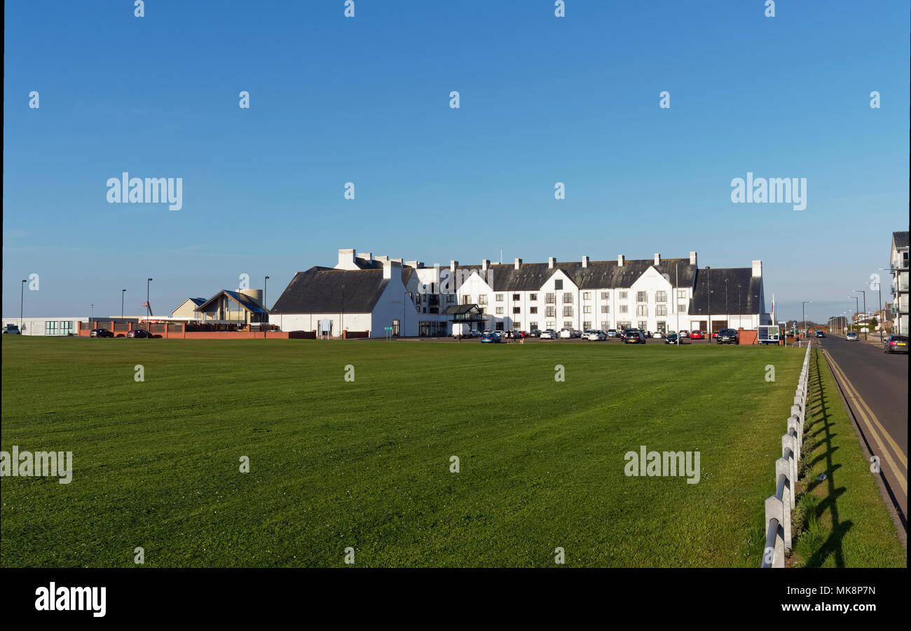 The Front of the Carnoustie Golf Hotel at the Championship Course of Carnoustie Golf Links, being made ready for the Open in July 2018. Angus, Scotlan - Stock Image