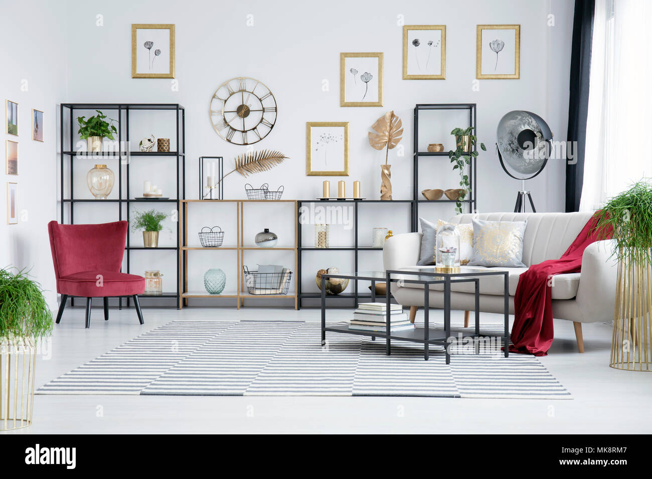 Awe Inspiring Elegant Living Room Interior With Striped Rug Metal Tables Beatyapartments Chair Design Images Beatyapartmentscom
