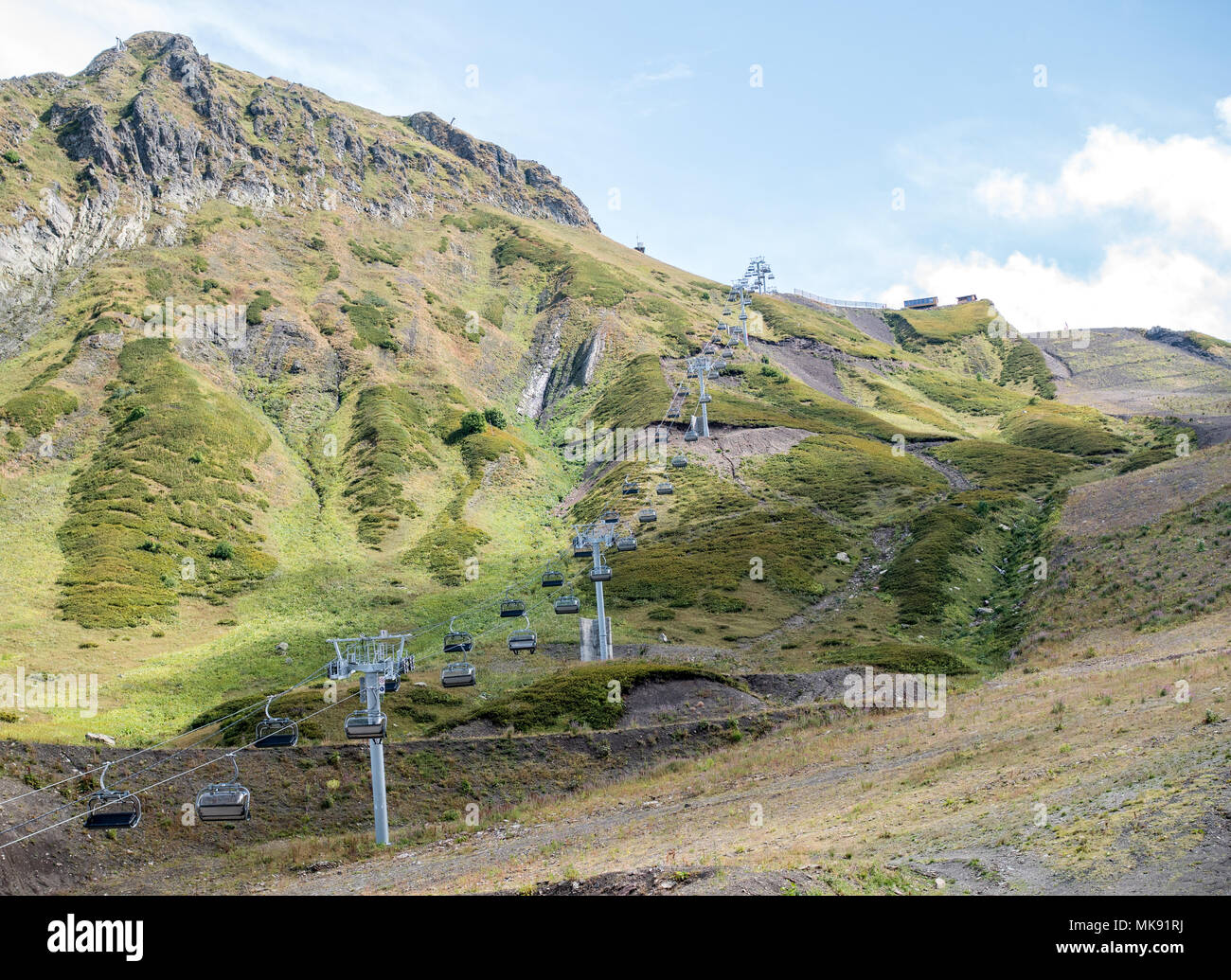 Image of funicular in mountain slope - Stock Image