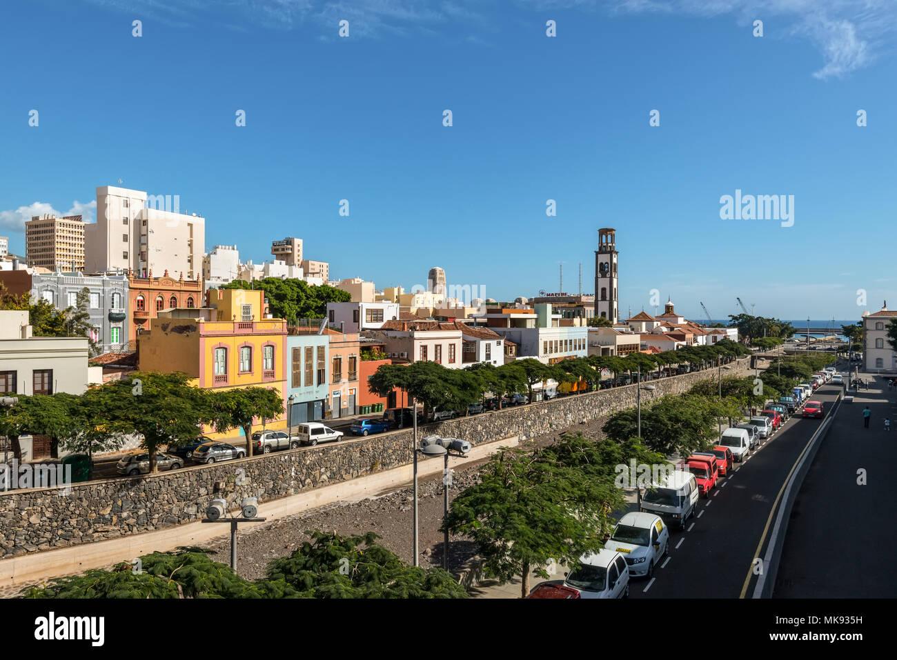 Santa Cruz de Tenerife, Canary Islands, Spain - Desember 11, 2016: Buildings along the Barranco de los Santos river in Santa Cruz de Tenerife, Canary  Stock Photo
