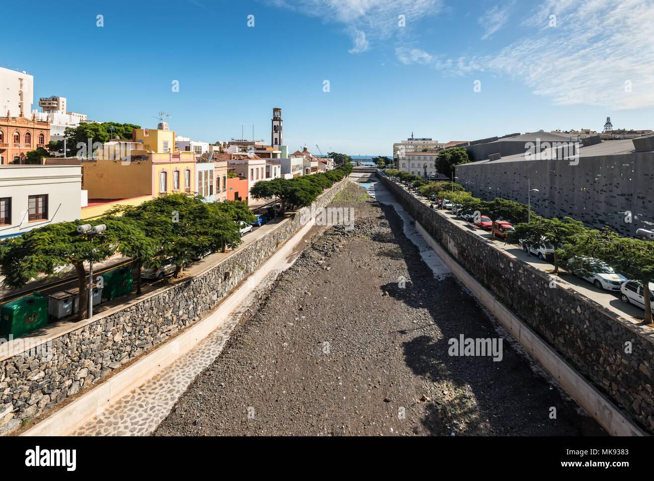 Santa Cruz de Tenerife, Canary Islands, Spain - Desember 11, 2016: The Barranco de los Santos river in Santa Cruz de Tenerife, Canary Islands, Spain.  Stock Photo