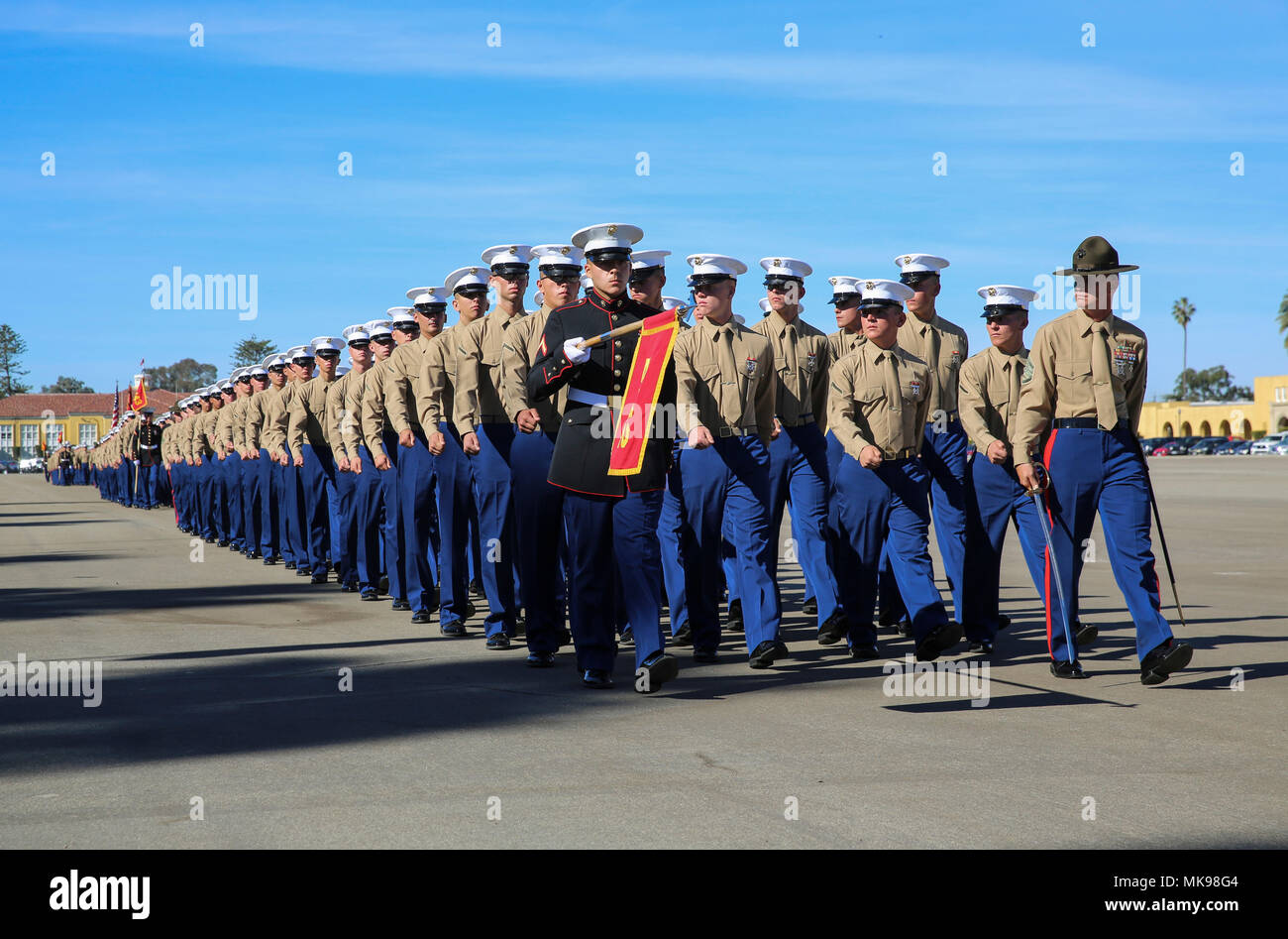 Marines With Golf Company 2nd Recruit Training Battalion March As A Company For The Last Time On Graduation Day At Marine Corps Recruit Depot San Diego Today Graduation Takes Place At The