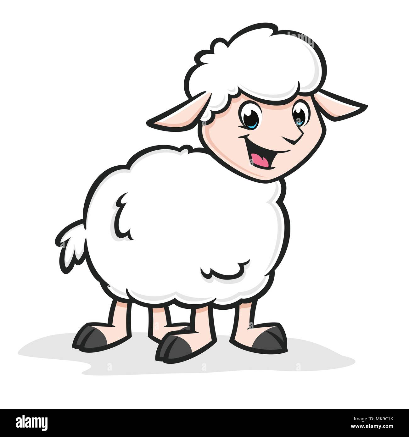 Cartoon Funny Sheep - Stock Vector