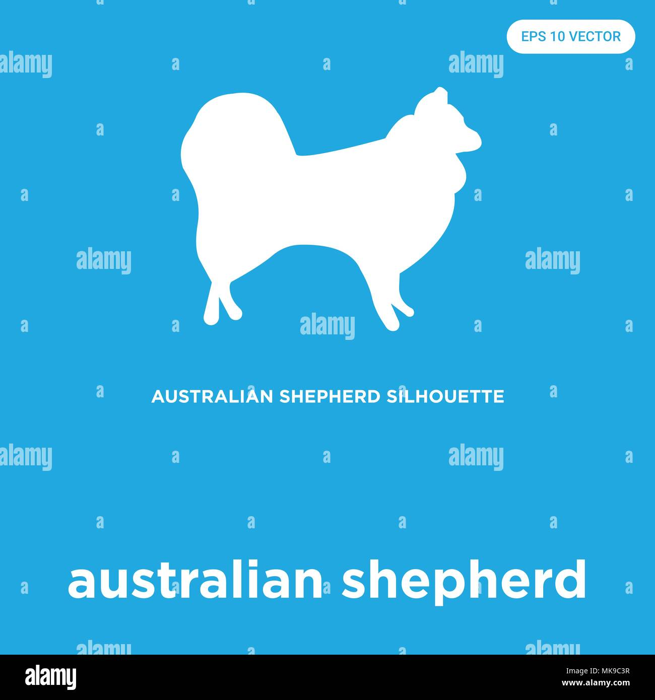 australian shepherd vector icon isolated on blue background, sign and symbol Stock Vector