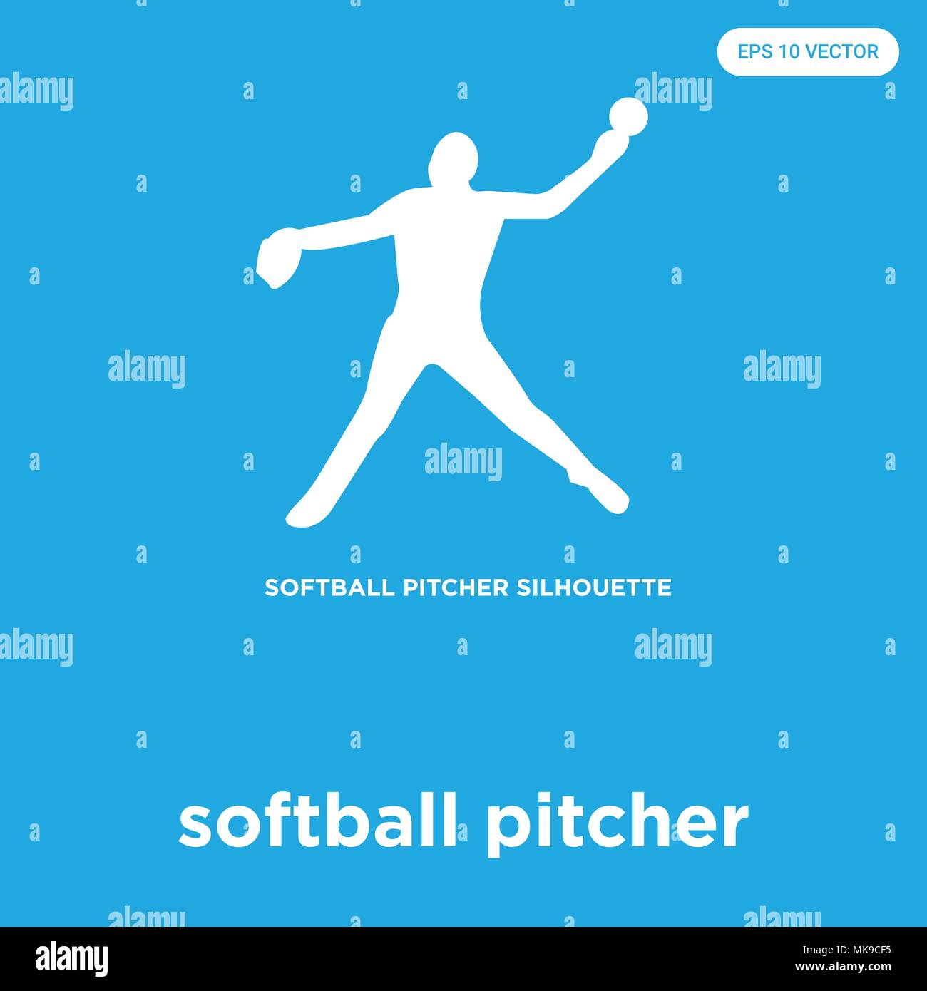 softball pitcher vector icon isolated on blue background, sign and ...