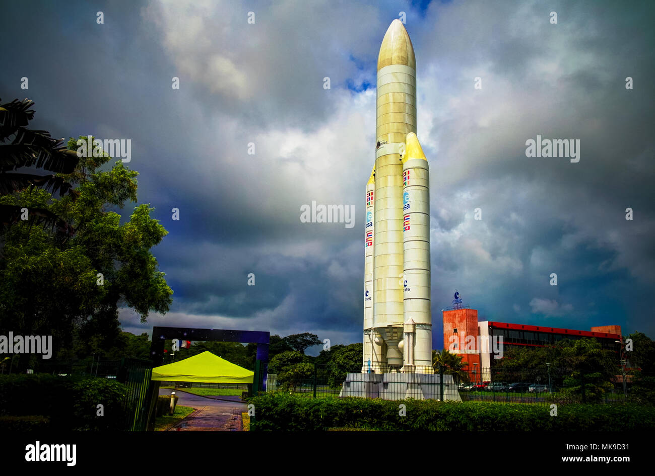space rocket monument inside Guiana Space Centre 07.05.2013 Kourou, French Guiana - Stock Image