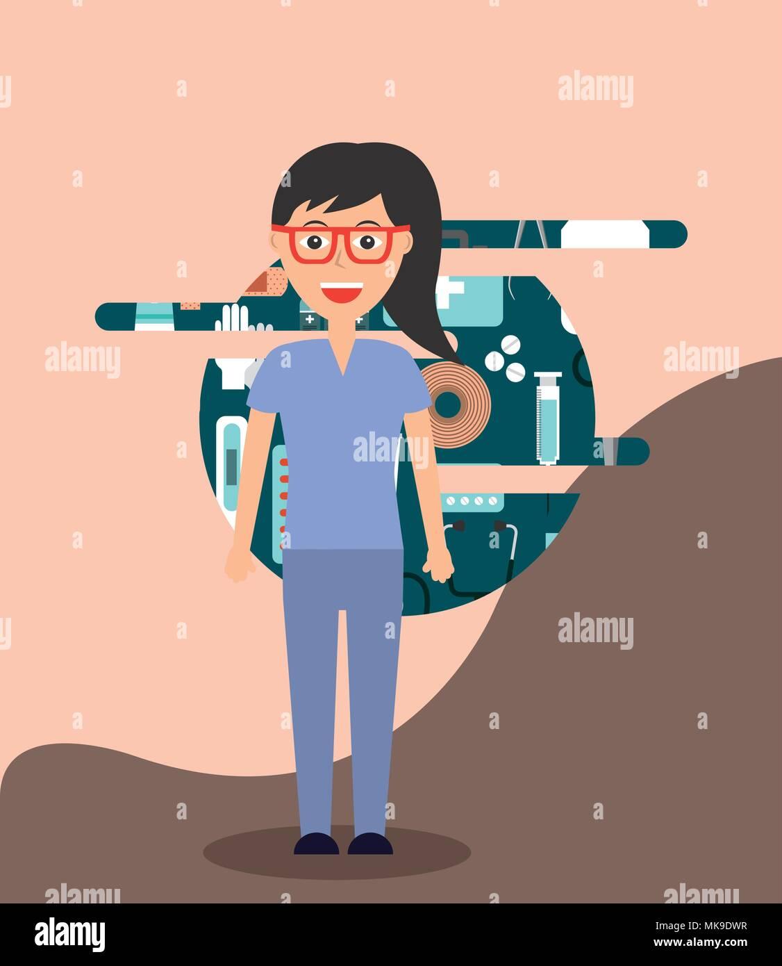 profesional female doctor medical hospital work - Stock Vector