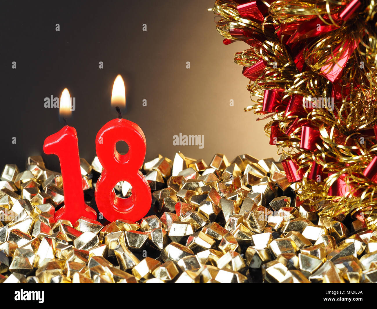Abstract Background For Birthday Or Anniversary Red Candles Showing Nr 18