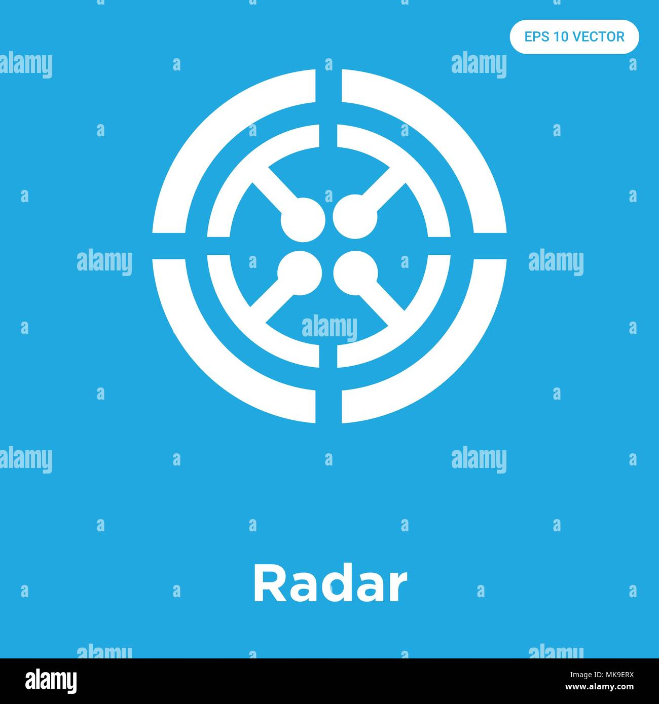 Radar vector icon isolated on blue background, sign and symbol - Stock Vector