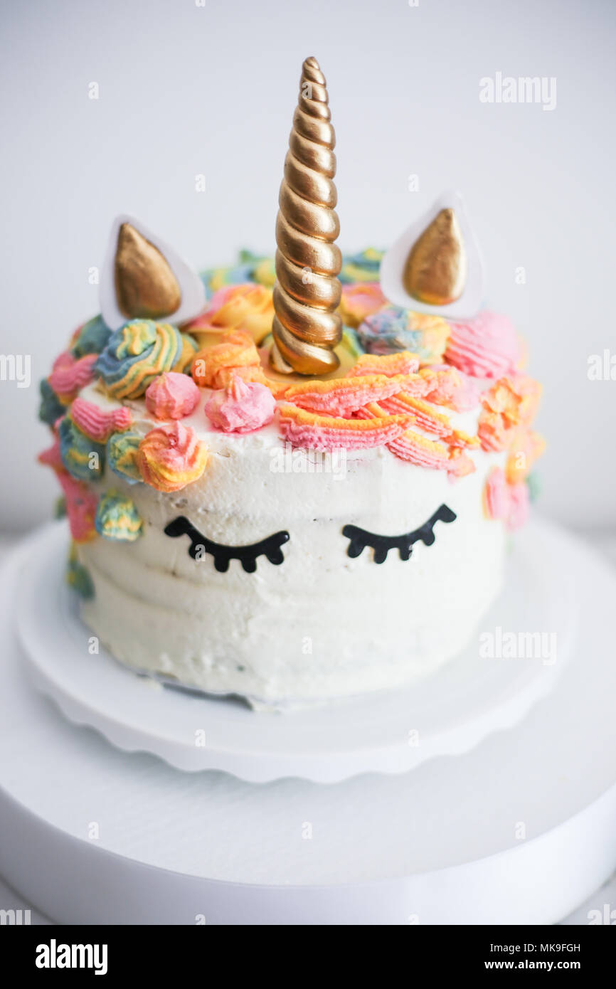 Unicorn Rainbow Cake Stock Photos