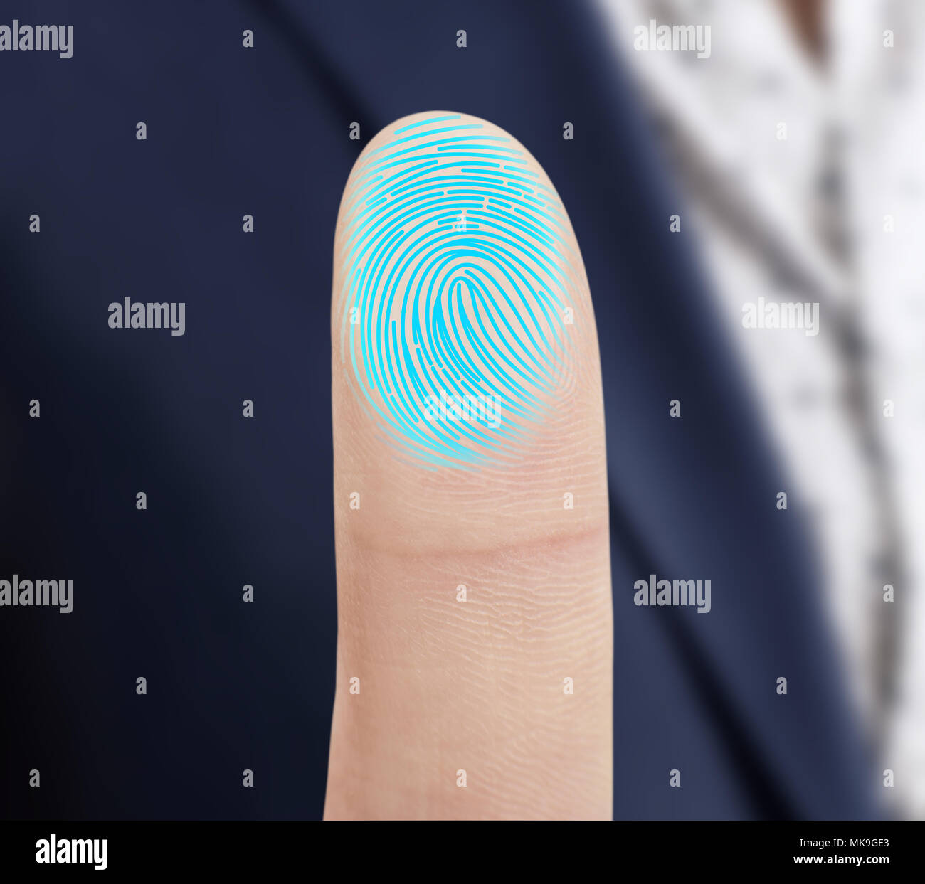 Finger Print Scan For Security System Stock Photos & Finger