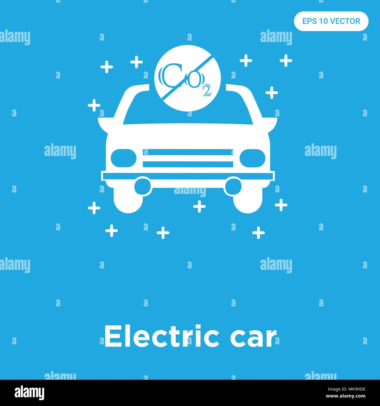 Electric car vector icon isolated on blue background, sign and ...