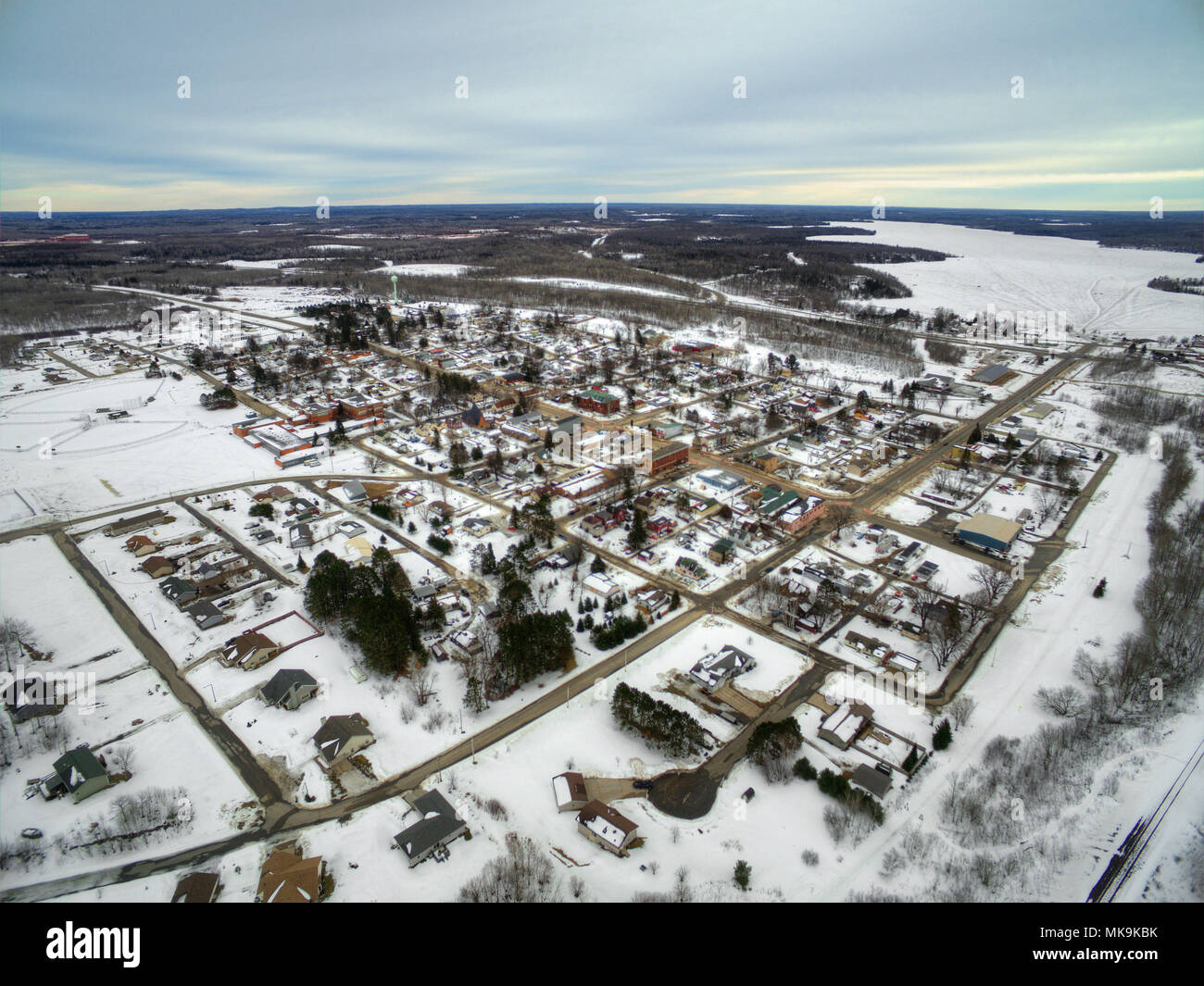 Bovey, Minnesota is a small Community on the Iron Range of Minnesota in Winter - Stock Image