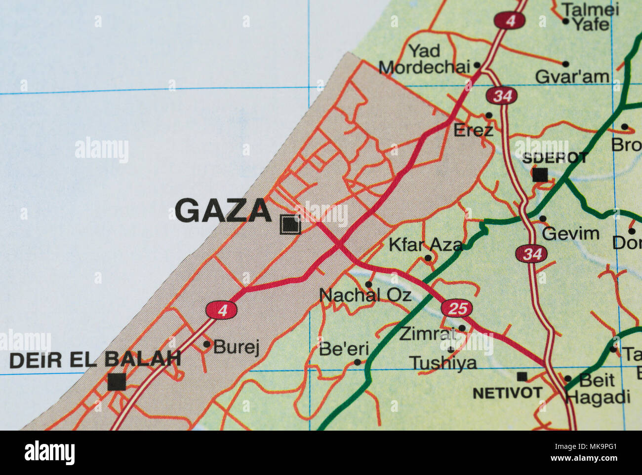 Gaza strip road map - Stock Image