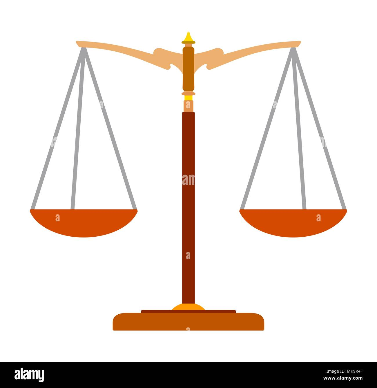 Colorful Flat Icon Of Scales Of Justice Law Balance Symbol Vector