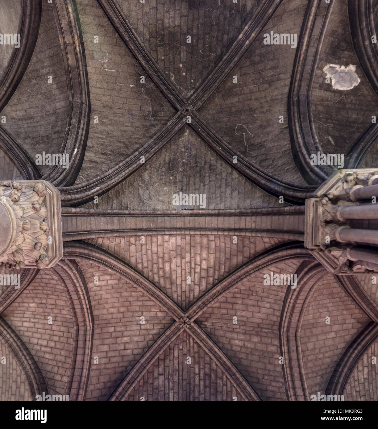 ribbed Gothic vaulting, cathedral of Notre-Dame de Paris , France - Stock Image