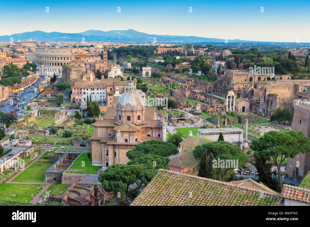 Aerial view of Roman Forum and Colosseum in Rome, Italy. - Stock Image