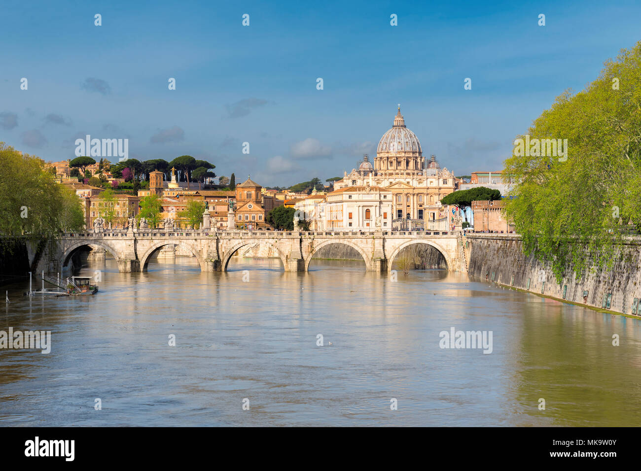 View at Tiber and St. Peter's cathedral in Rome, Italy. - Stock Image