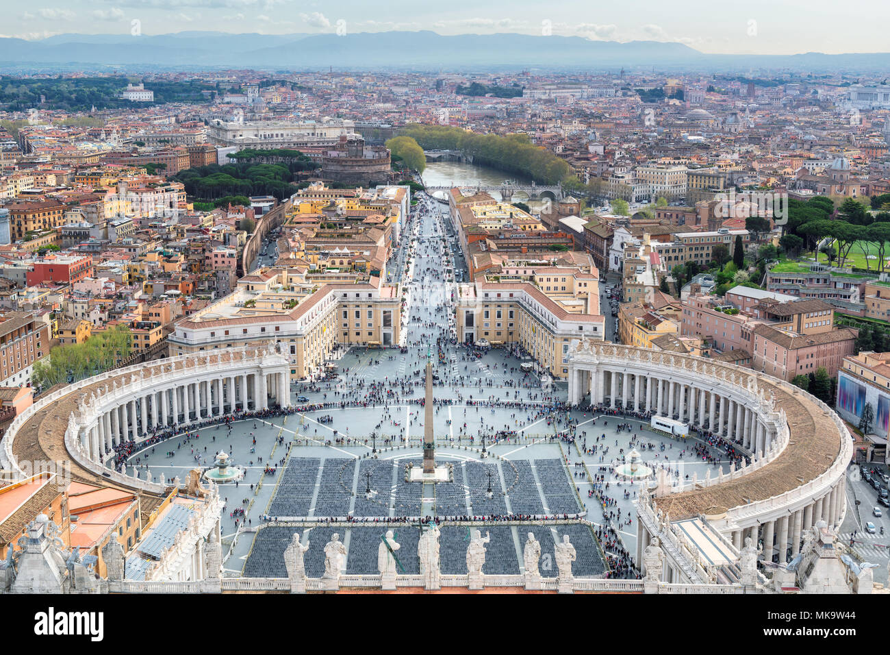 Rome skyline - Saint Peter's Square in Vatican, Rome, Italy. - Stock Image