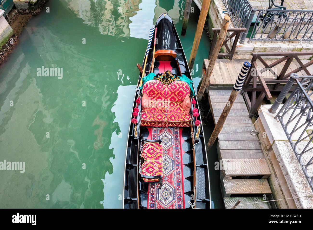 Venice landscape. Venetian canal with gondola in Venice, Italy. - Stock Image
