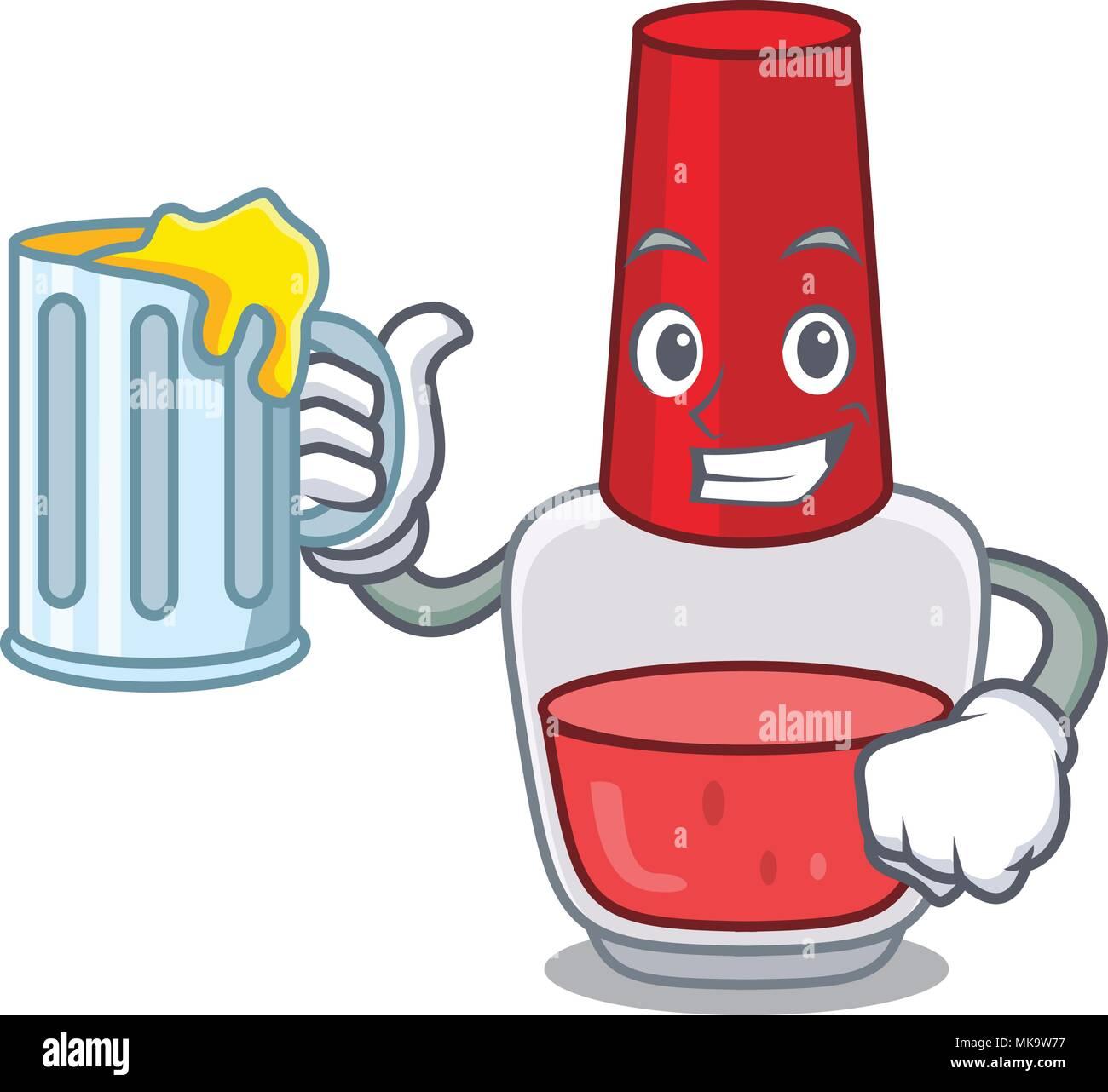 With juice nail polish mascot cartoon Stock Vector Art ...