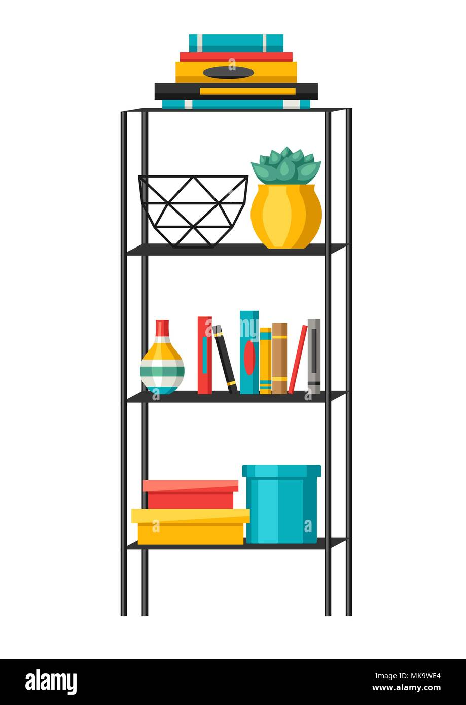 Interior home decor. Shelves with books and vases. - Stock Image