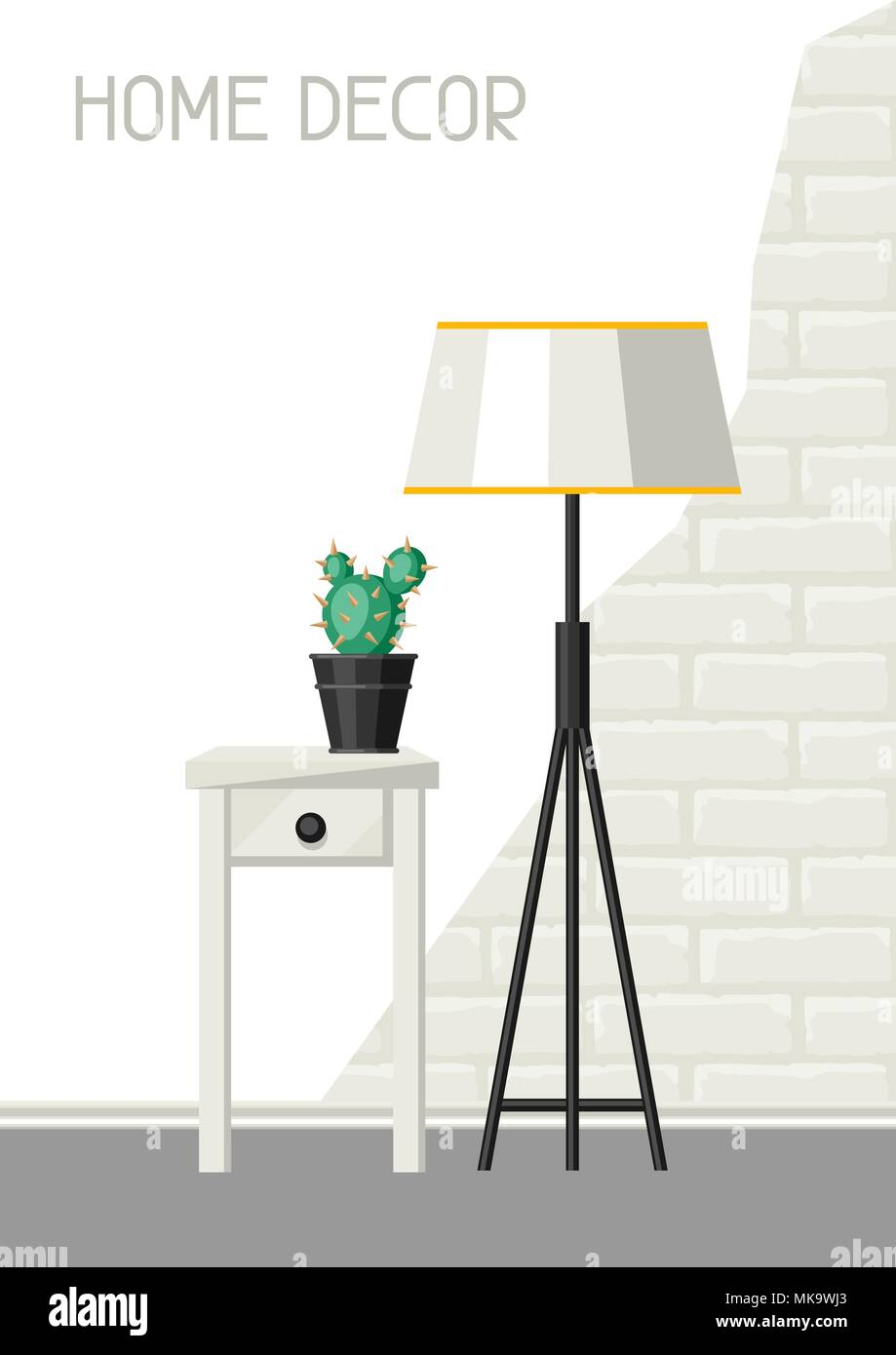 Interior home decor. Lamp and table with cactus. - Stock Image