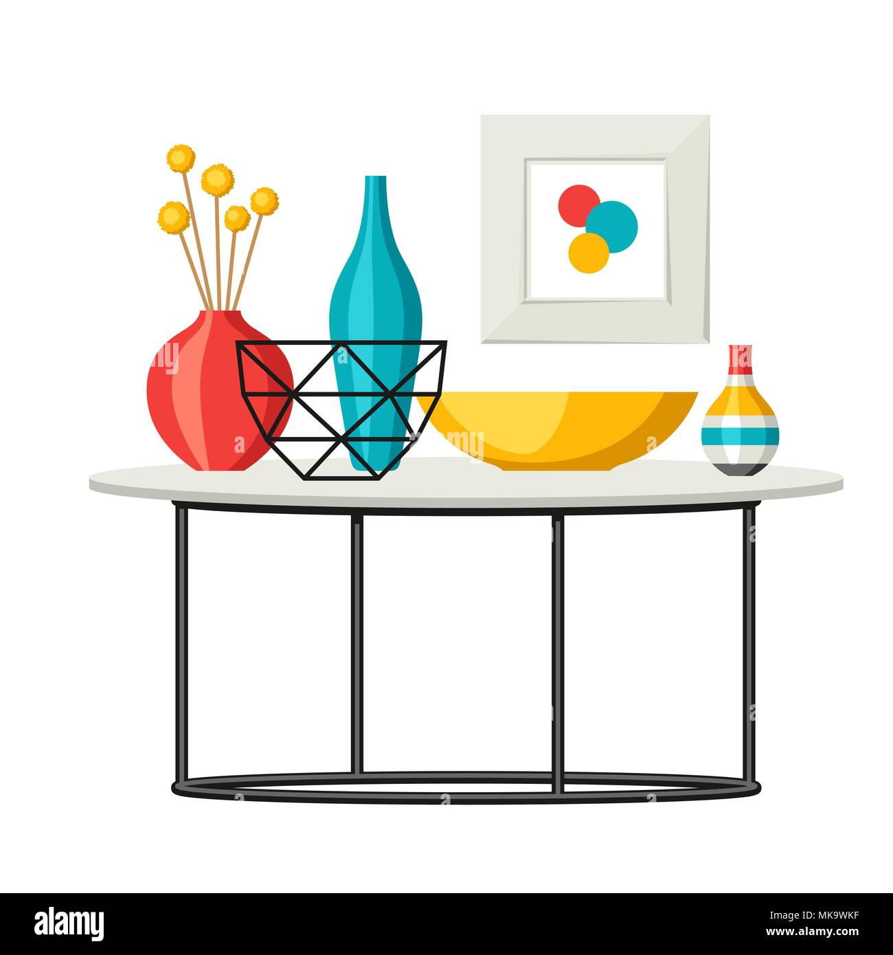 Interior Home Decor Table With Vases And Picture Stock Vector Image Art Alamy