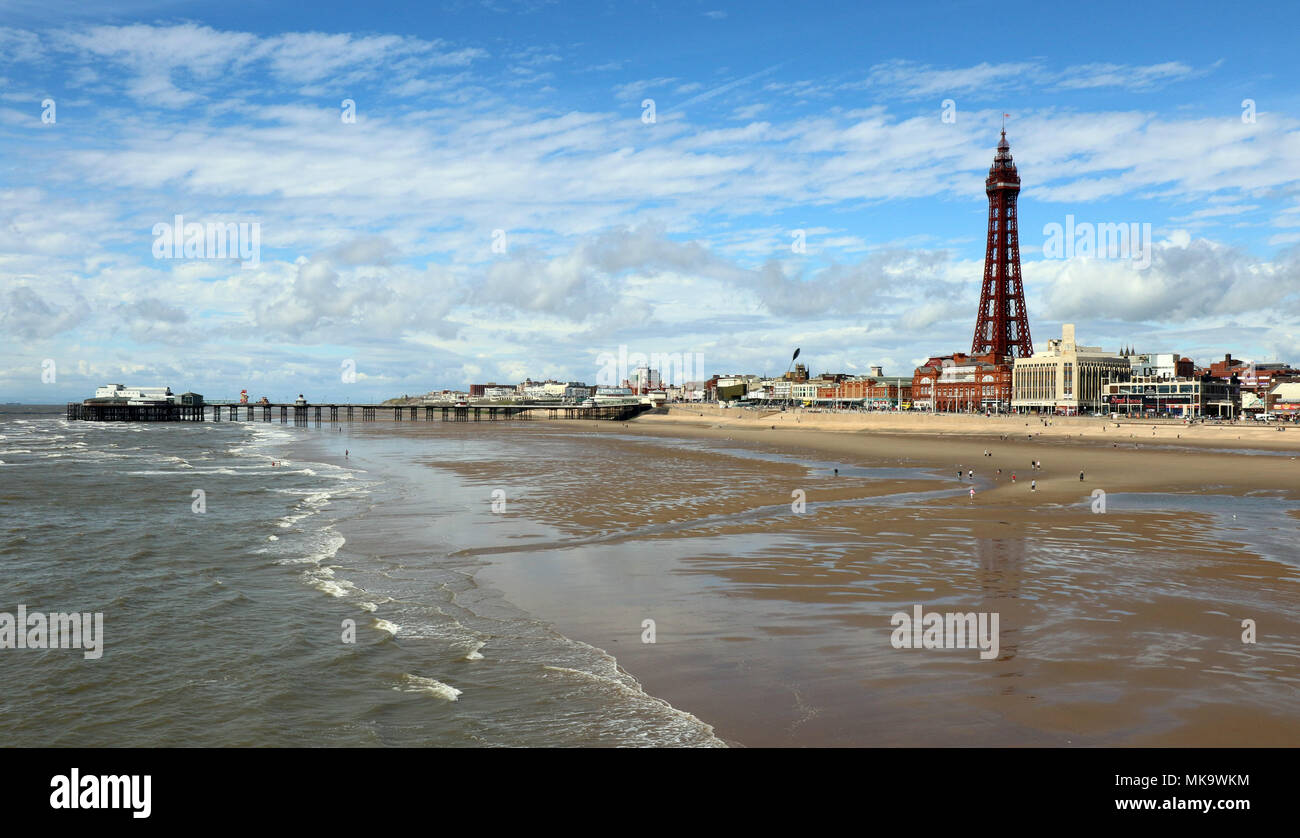 View of Blackpool Tower & Beach - Stock Image