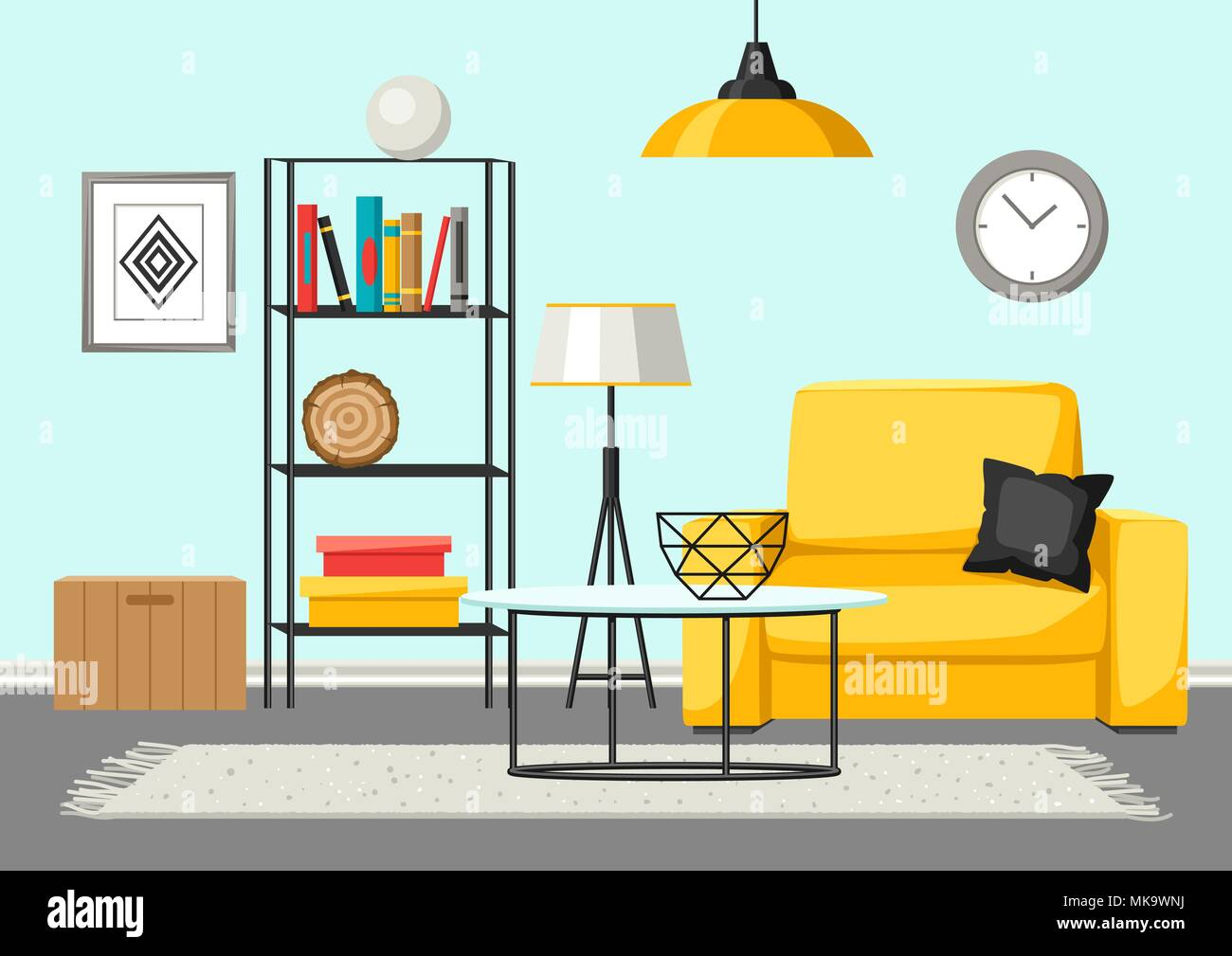 Interior Living Room Furniture And Home Decor Stock Vector Art