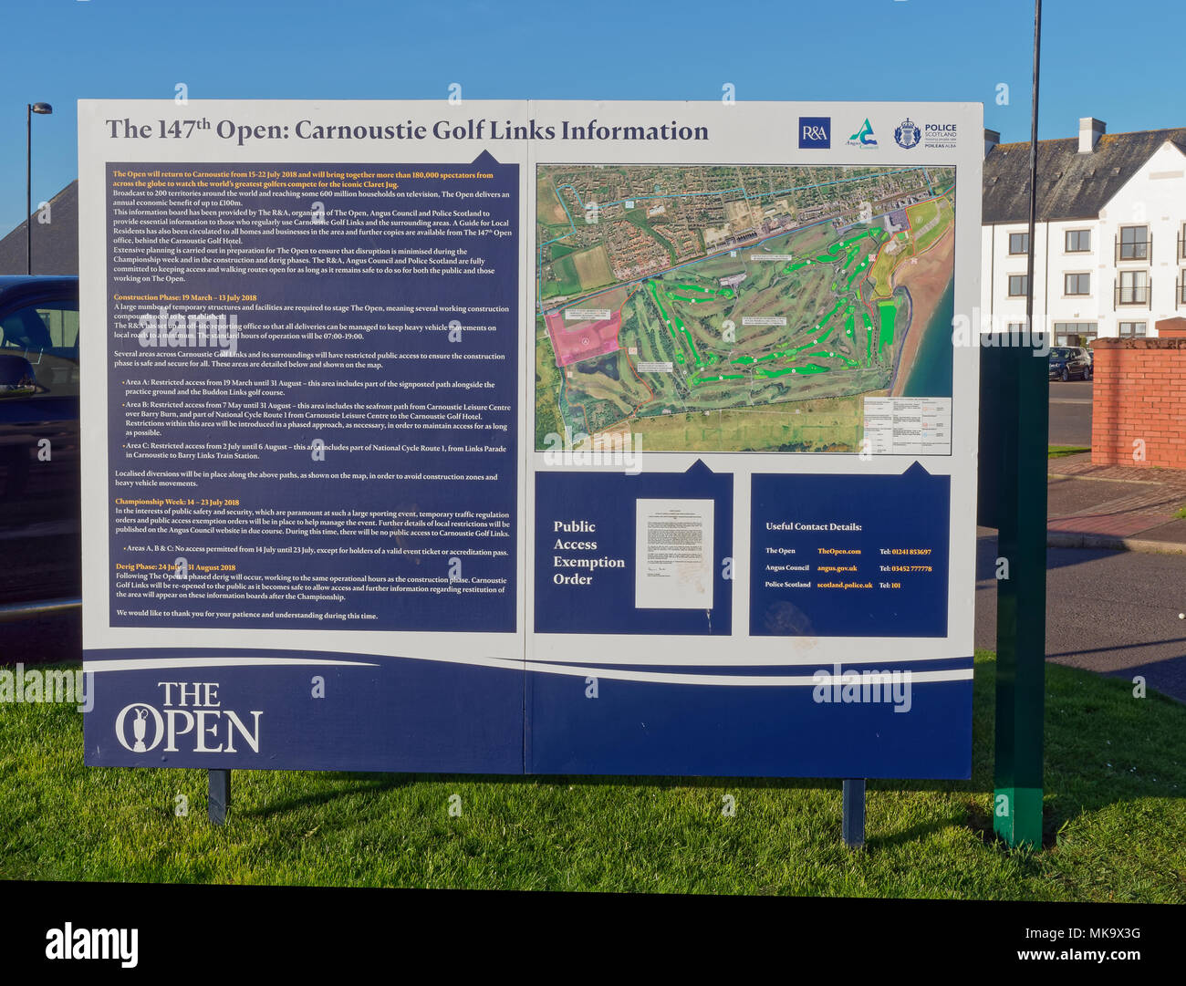 An Information Sign for the Open Golf Championship being held at Carnoustie Golf Links during July 2018. Carnoustie, Angus, Scotland. - Stock Image