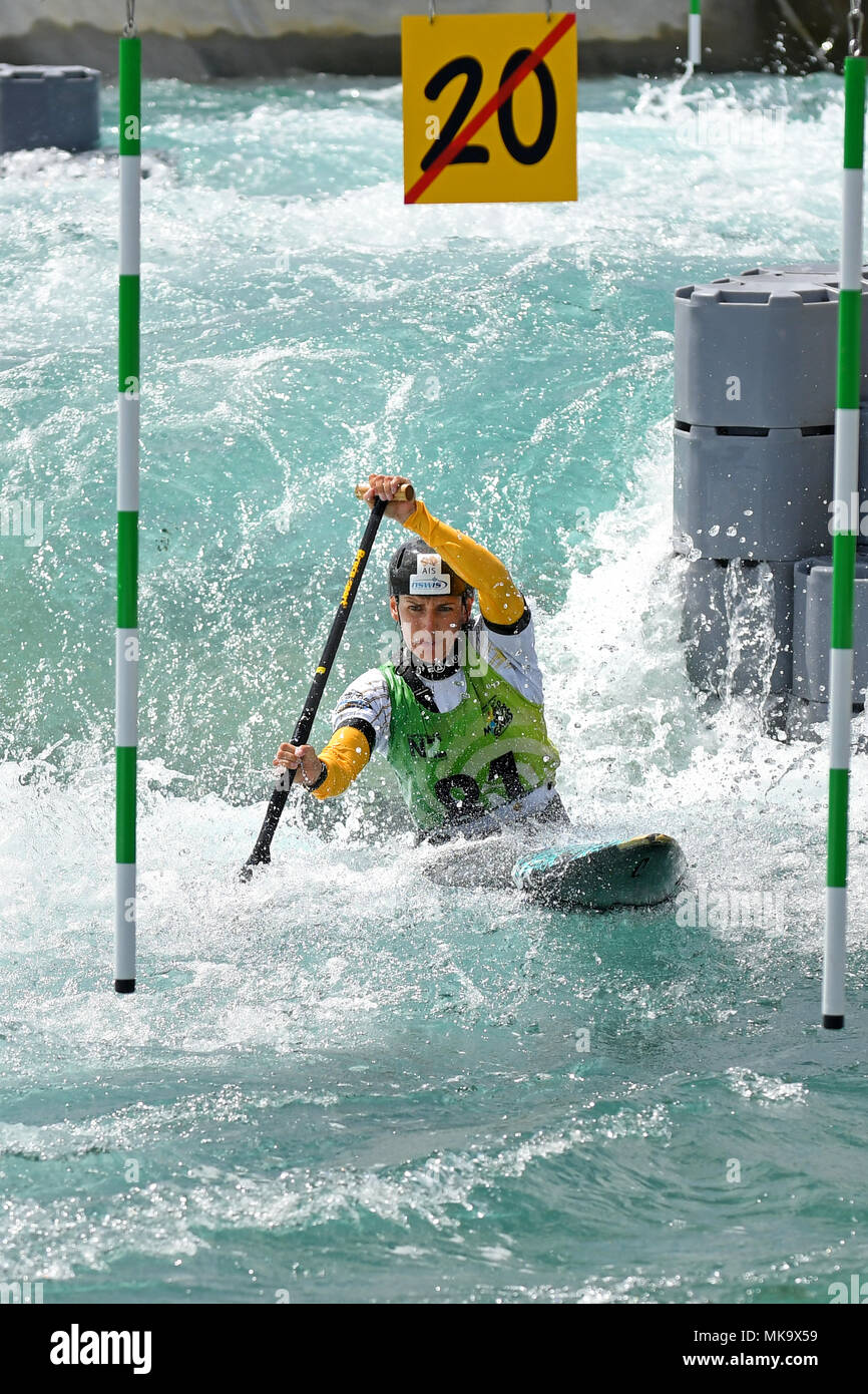 Action in one of the Canoe Slalom Oceania open in Auckland - Stock Image