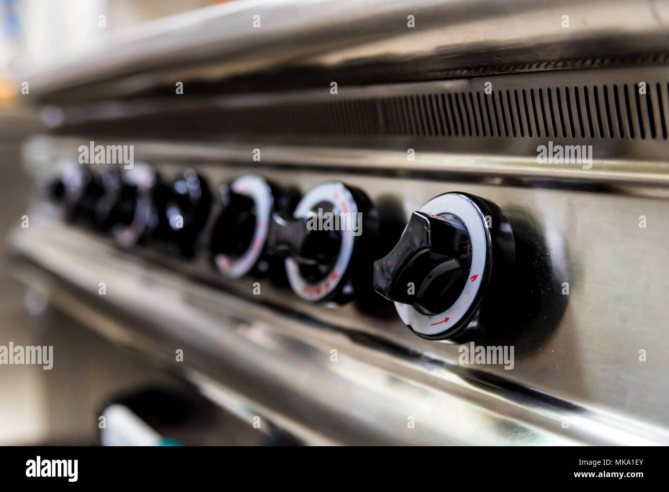 Control panel of gas stove - Stock Image