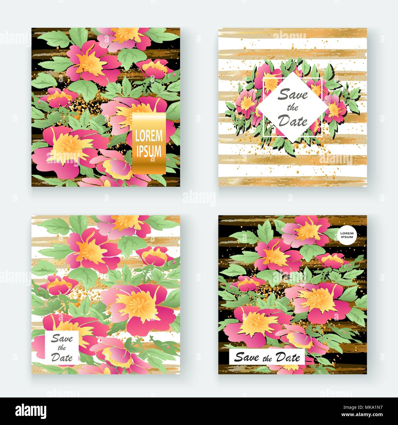 Greeting Cards With Flower Rose Wreath Leaves With Gold Lines White
