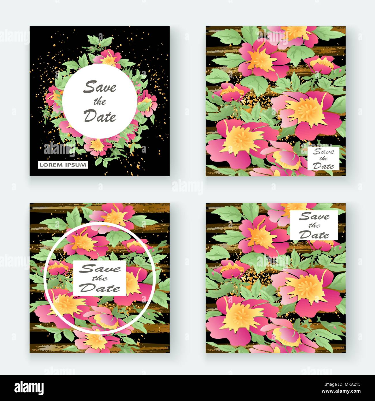 Greeting Cards With Flower Rose Wreath Leaves With Gold Lines Black