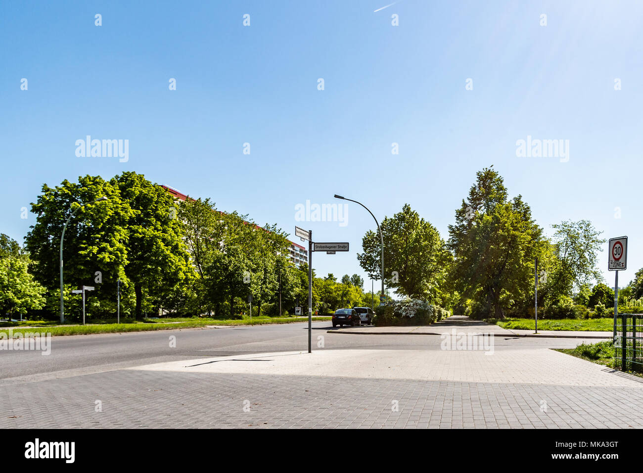 Crossroads with no traffic in Berlin Marzahn, Germany - Stock Image