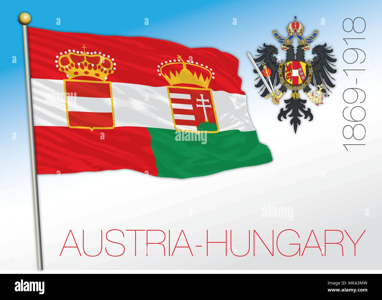 Austria and Hungary empire historical flag, 1869 - 1918 - Stock Image