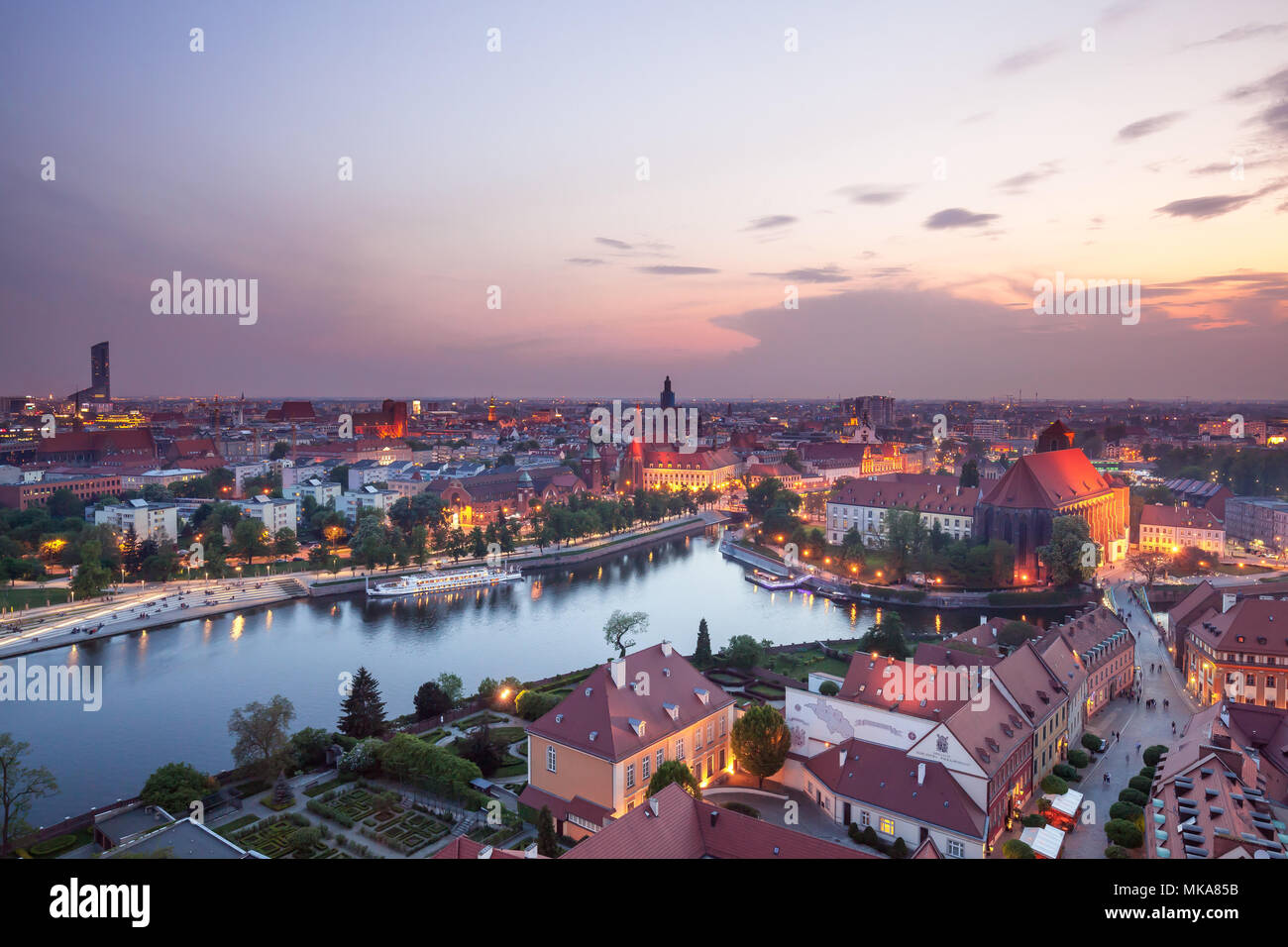 Wroclaw city in Poland aerial view at night - Stock Image