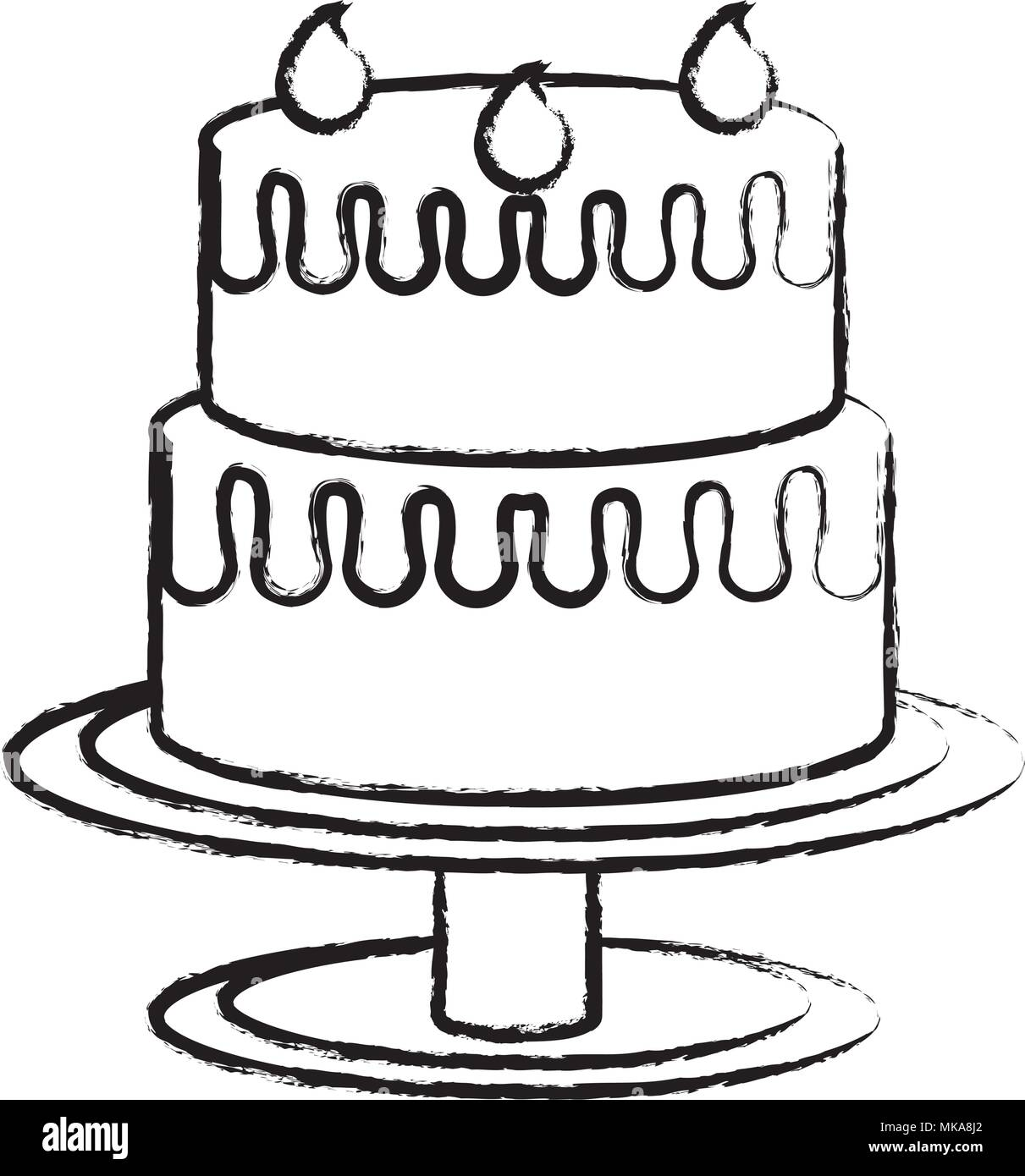 Sketch Of Birthday Cake Icon Over White Background Vector