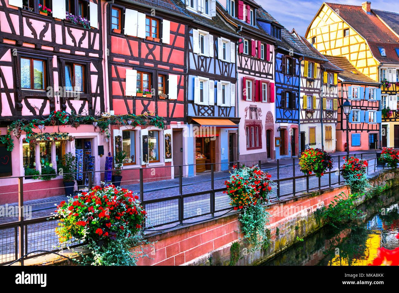 Characteristic colorful houses in Colmar town,Alsace,France. - Stock Image