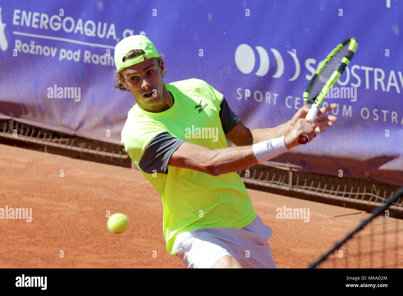 Ostrava, Czech Republic. 06th May, 2018. Belgian player De Greef won the singles competition at the Prosperita Open men's tennis challenger tournament in Ostrava (red clay, prize money 64,000 euros), Czech Republic, May 6, 2018. Credit: Petr Sznapka/CTK Photo/Alamy Live News - Stock Image