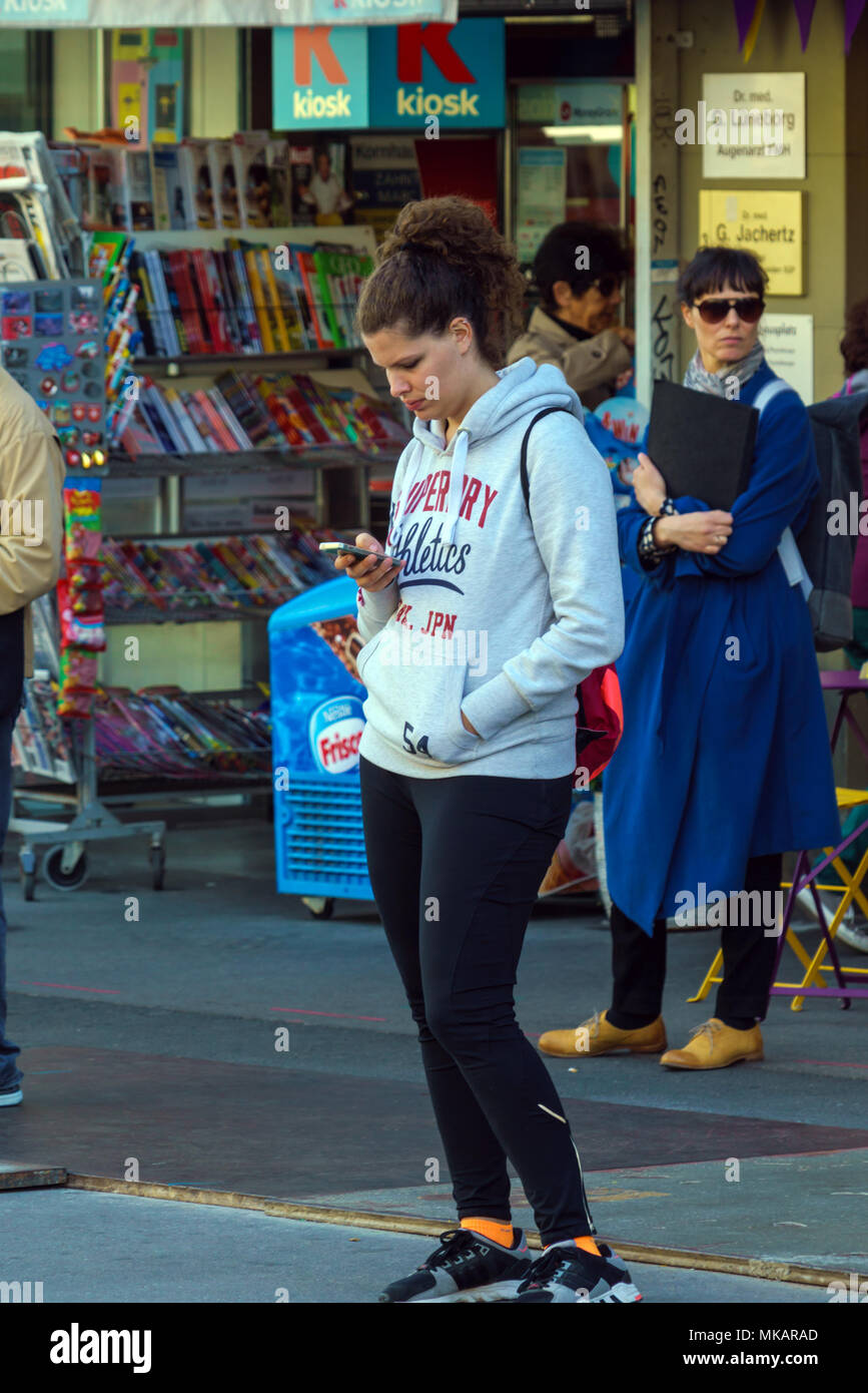 bern switzerland october 17 2017 a young modern swiss girl with