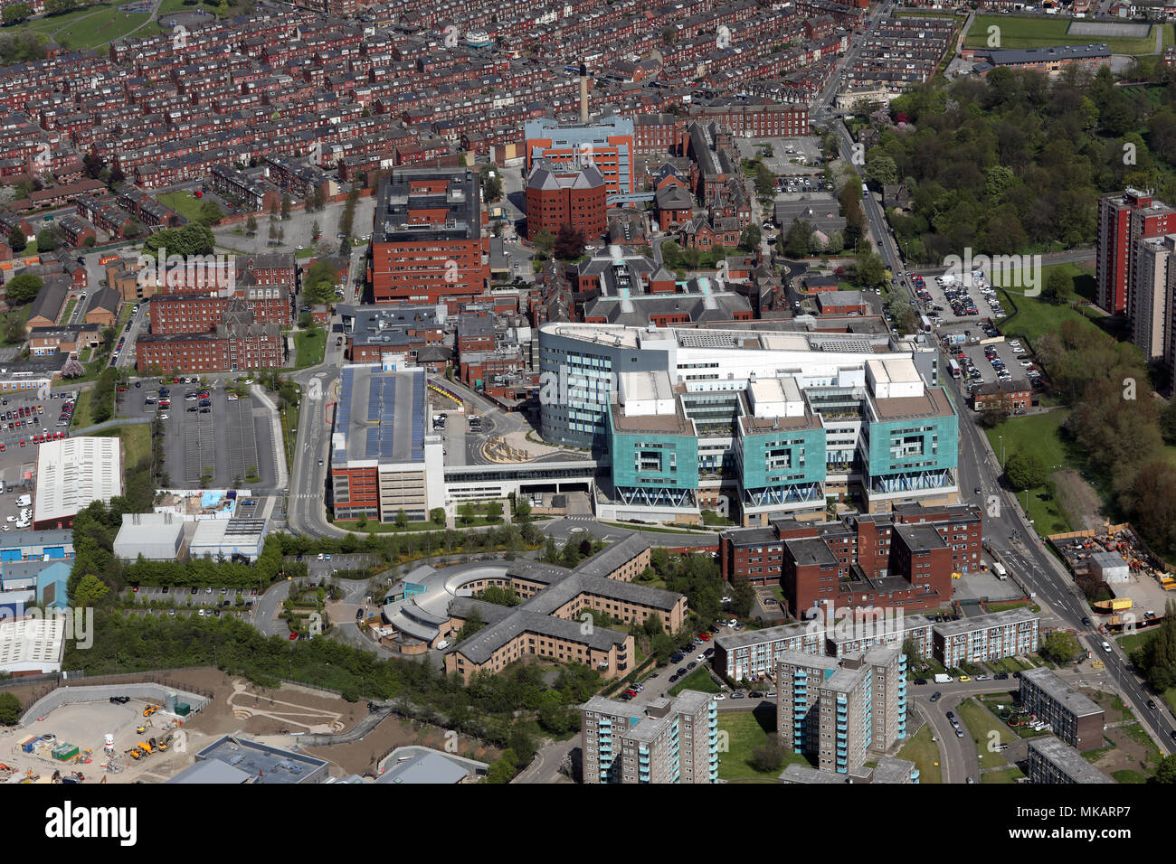 aerial view of St James's University Hospital, Leeds - Stock Image