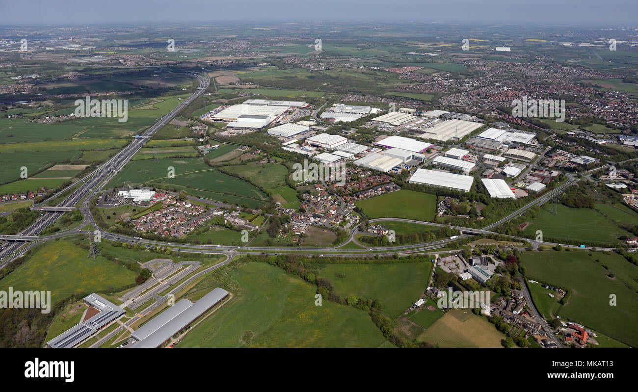 aerial view of Wakefield 41 industrial estate West Yorkshire - Stock Image