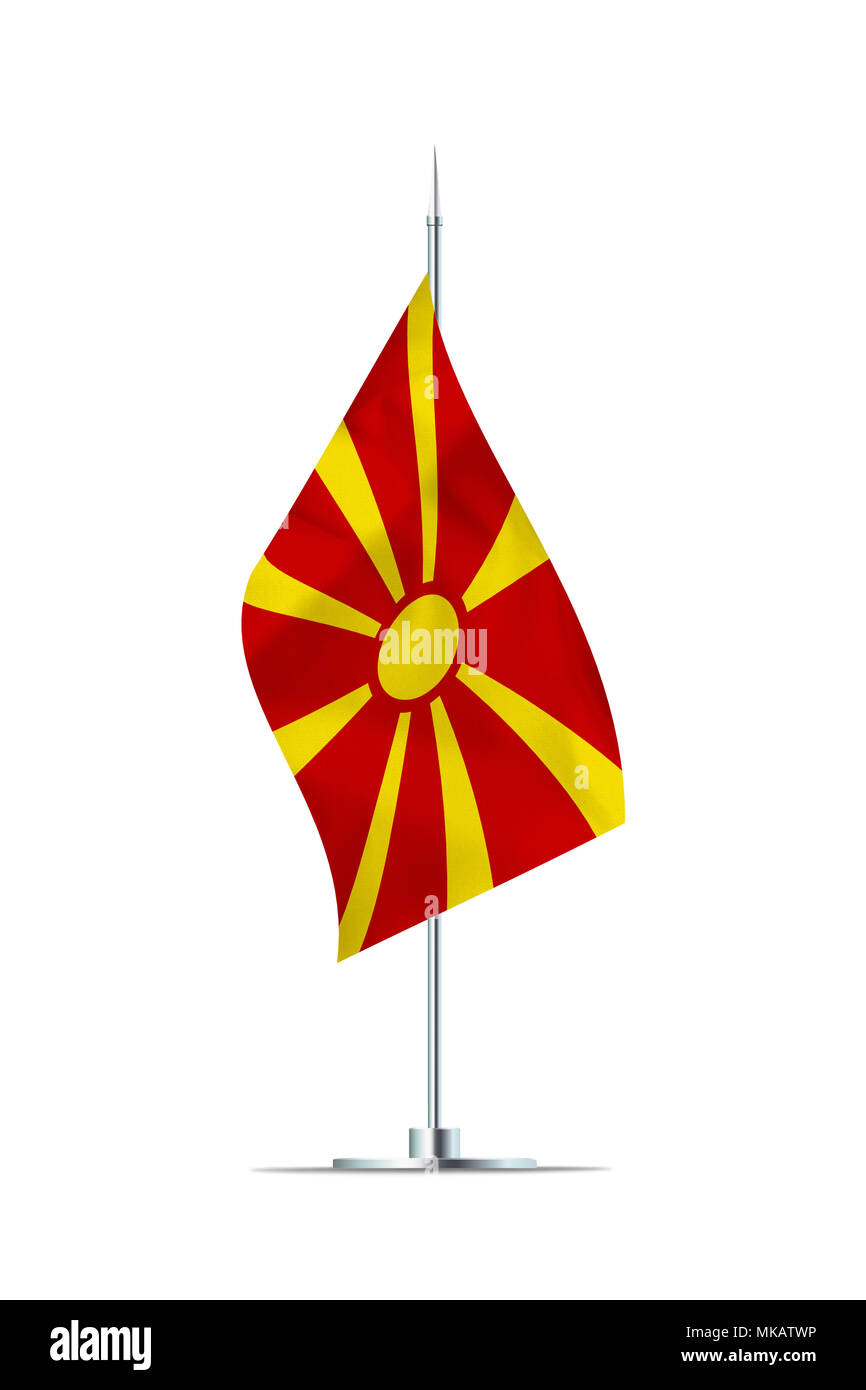 Small Macedonia flag  on a metal pole. The flag has nicely detailed textile texture. Isolated on white background. 3D rendering. - Stock Image