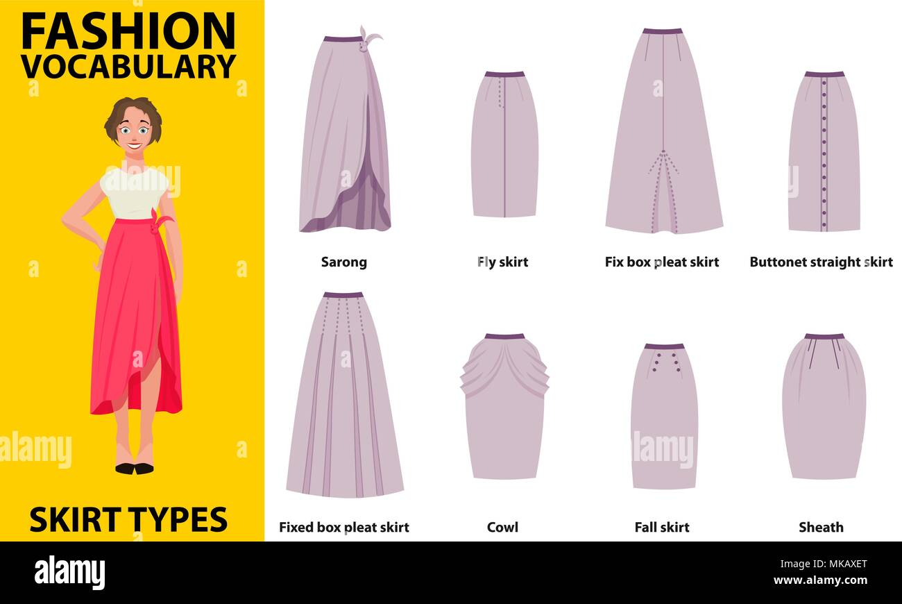 Skirt vocabulary collections of standard classic simple skirts. Many types of skirts sutable on vector nice vector model. - Stock Vector