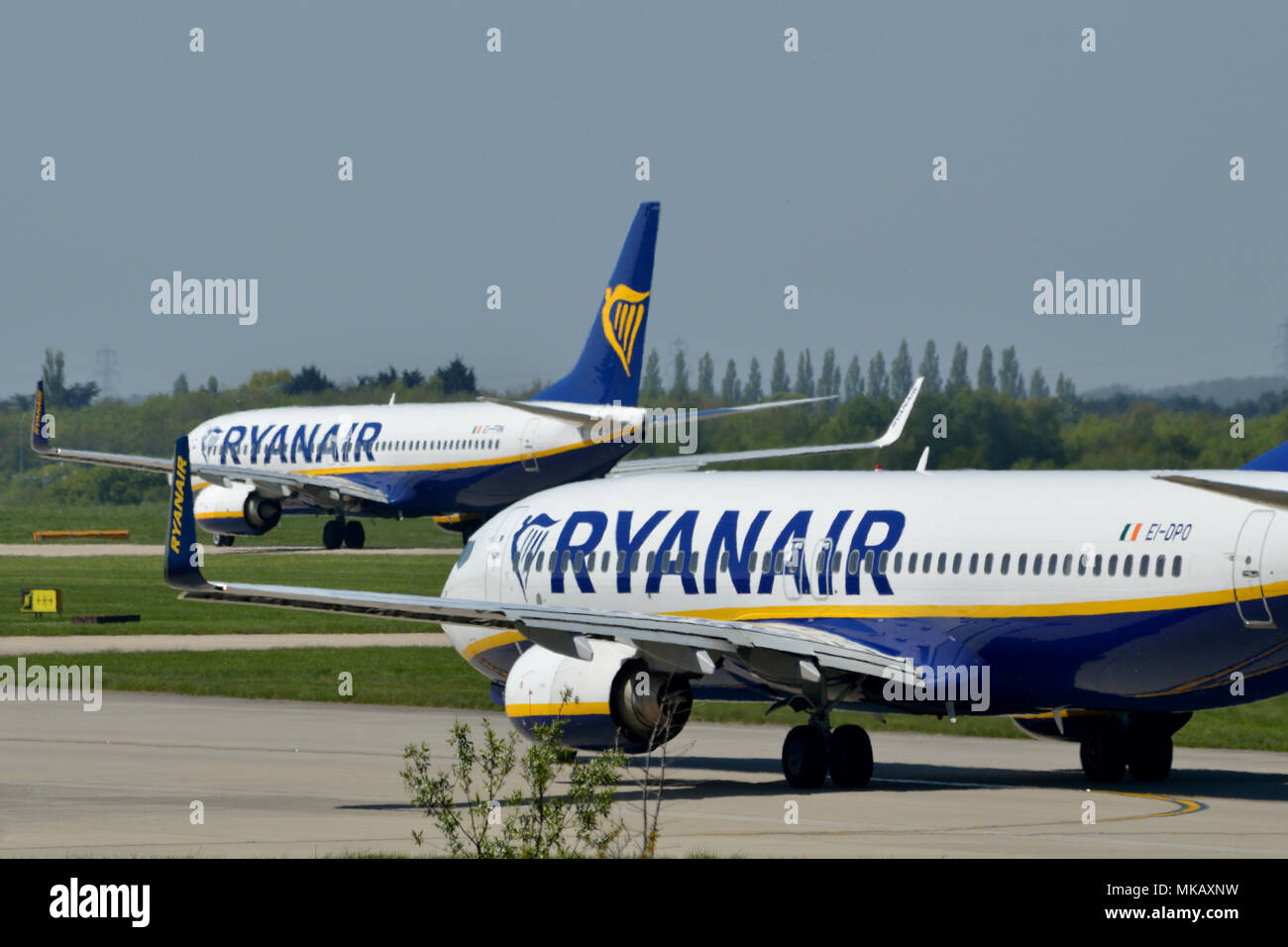 Two Ryanair aircraft at London Stansted Airport - Stock Image