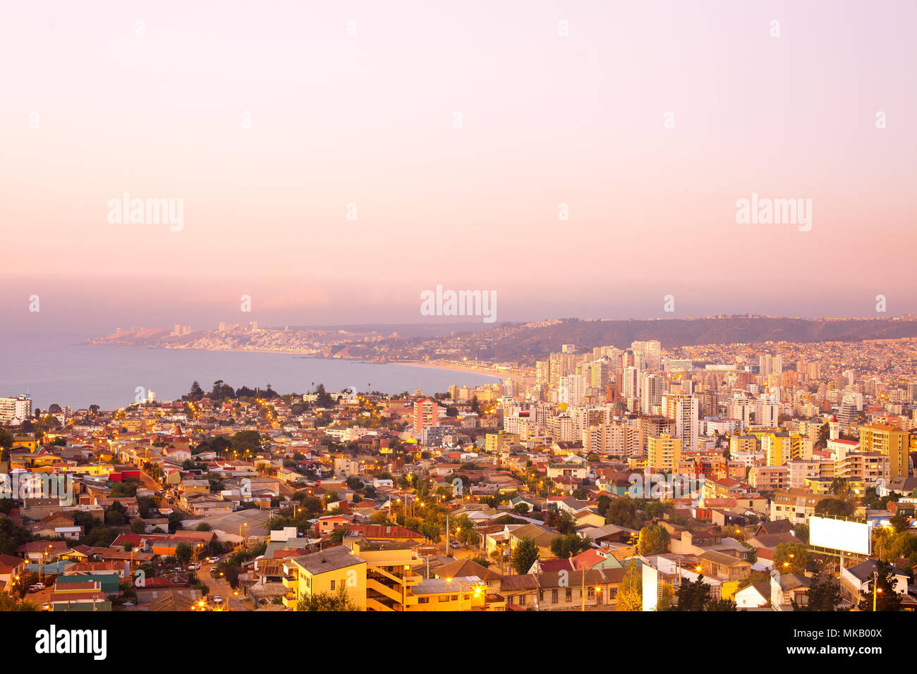 Panoramic view of Viña del Mar, V Region of Valparaiso, Chile - Stock Image
